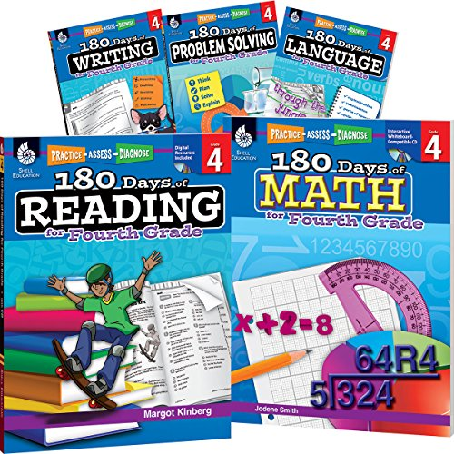 180 Days of Fourth Grade Practice, 4th Grade Workbook Set for Kids Ages 8-10, Includes 5 Assorted Fourth Grade Workbooks to Practice Math, Reading, ... Problem Solving Skills (180 Days of Practice)