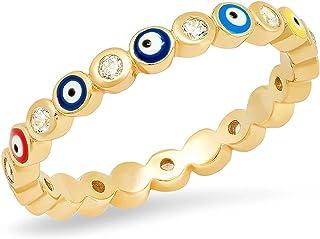 خاتم عين شرير للنساء خاتم العين الزرقاء خاتم الذهب مزروع ملون العين خواتم أوجو للرجال النساء