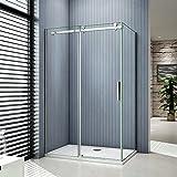 Aica Italy - Cabina de ducha en nicho, con puerta deslizante, de cristal templado de 8mm de grosor, antical, 195cm de altura, transparente