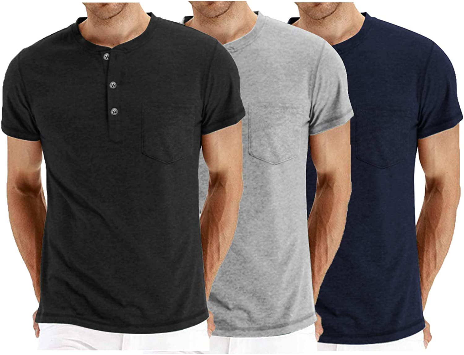 COOFANDY Mens 3Pack Henley Shirts Short Sleeve Casual Basic Summer Solid T Shirts with Pocket