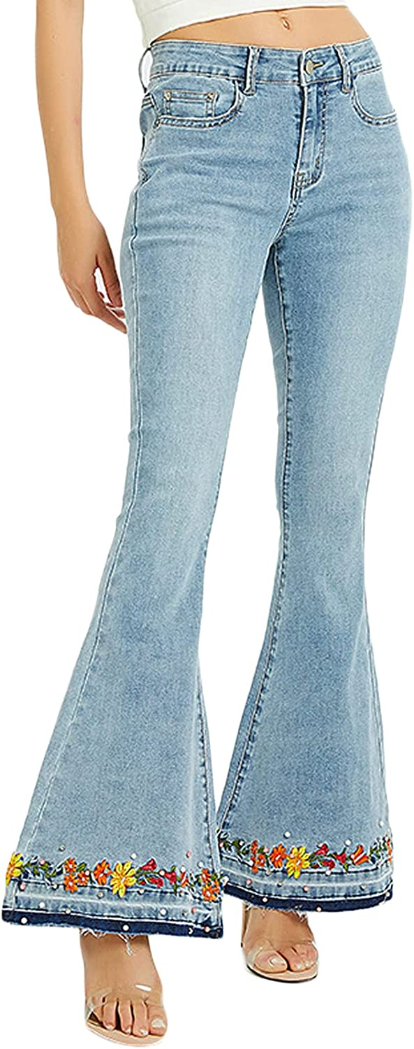 Womens Floral Embroidered Bell Bottom Jeans Mid Rise Frayed Hem Flared Denim Pants
