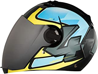 Steelbird SBA-2 Robotics Full Face Helmet in Matt Finish with Chrome Visor (Medium 580 MM, Black/Blue/Yellow)