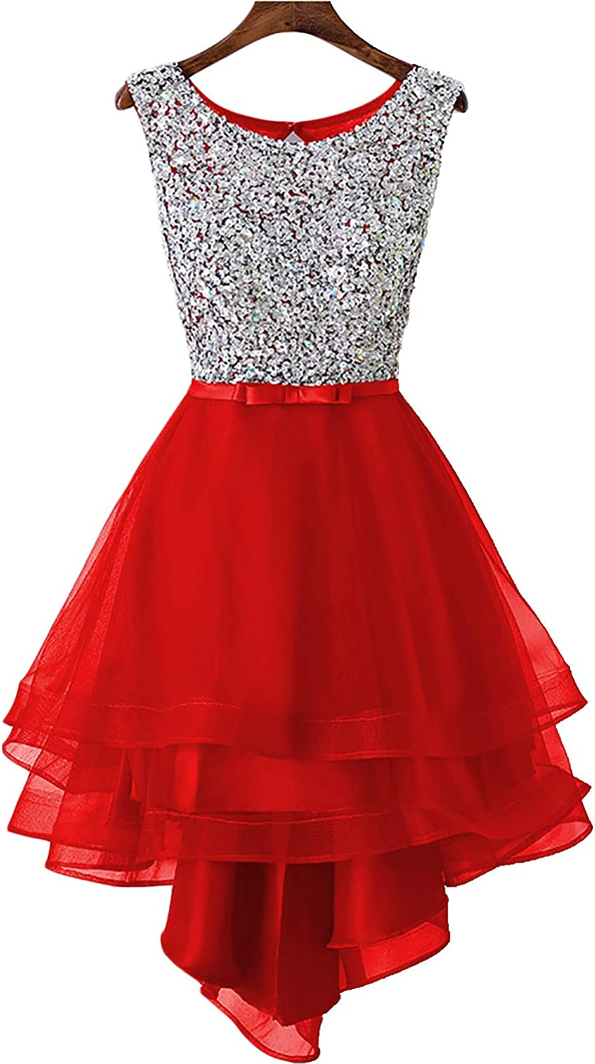 EverBeauty Womens Beaded High Low Homecoming Dress Short Sleeveless Tulle Prom Party Gown Scoop Neck