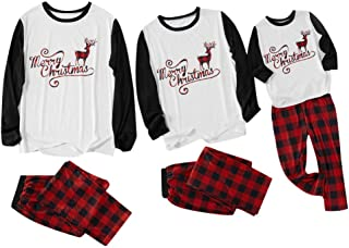 Aviat Matching Family Pajamas Sets Christmas,Soft&Casual Sleepwear,Long Sleeve White Tee+Red Plaid Pants Xmas Loungewear Fit for Party Holiday,Decor for Women,Men,Kids,Boys,Girls,Festive PJs