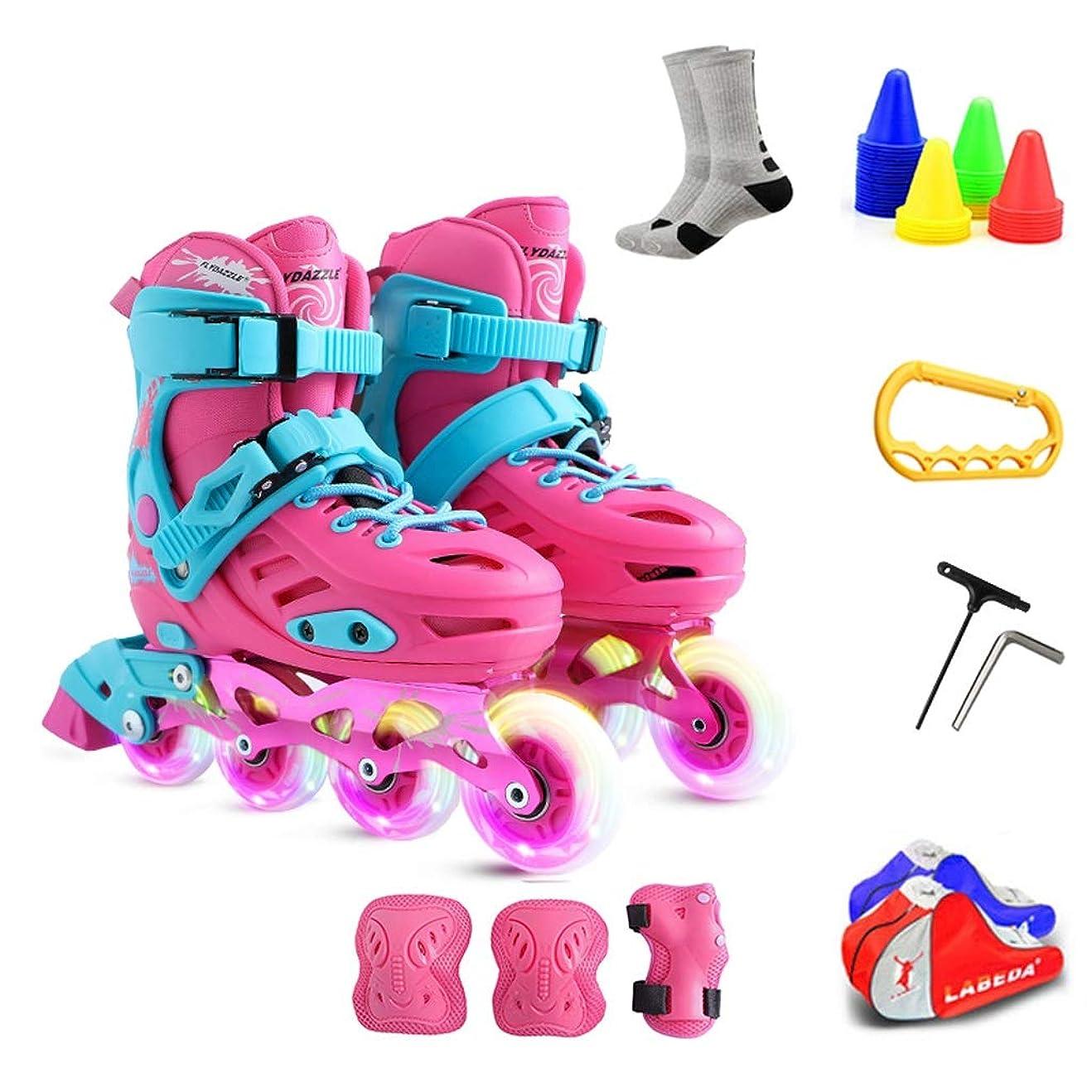 弾性パケット白鳥ZHANGHAIMING 子供用インラインスケート、フラッシュボーイズとガールズアジャスタブル単列スケート、27?38ヤードブルーピンク (Color : Pink, Size : 36)