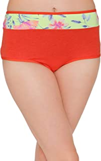 Clovia Women's Cotton Mid Waist Hipster Panty with Floral Print Waistband