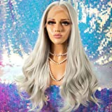 Cosswigs 13x6 Lace Front Wig Platinum Blonde Wigs for Women Deep Parting Synthetic Wig Free Parting Heat Resistant Fiber 24inches
