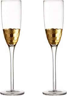 Fitz and Floyd Daphne Gold Champagne Flutes, Set of 2
