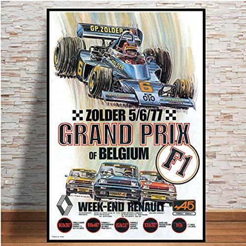 Aawerzhonda Quadri Moderni World Grand Prix Retro Monaco 64th Super Motor Car Poster Wall Art Canvas Picture Pittura per Room Home Decor 60x90cm