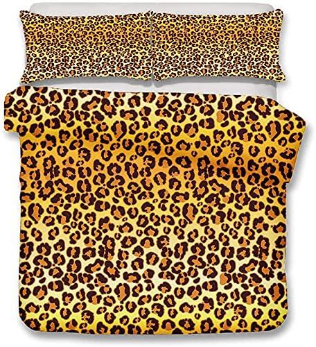 Proxiceen Juego de ropa de cama, diseño de camuflaje, leopardo, vaca, cebra, con cremallera, funda...