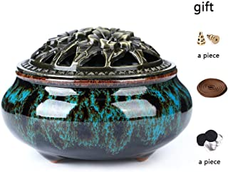 LamDawn Incense Burner with Calabash Incense Stick Holder - Porcelain Charcoal Censer for Use with Resin Granular Powder Cone or Coil Incense (Fambe Blue)