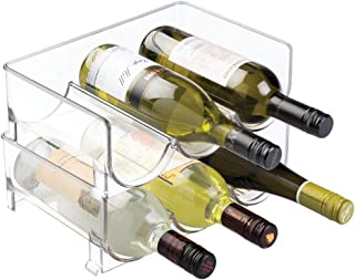 mDesign Modern Plastic Stackable Vertical Standing Wine Bottle Holder Stand - Storage Organizer for Kitchen Countertops, P...
