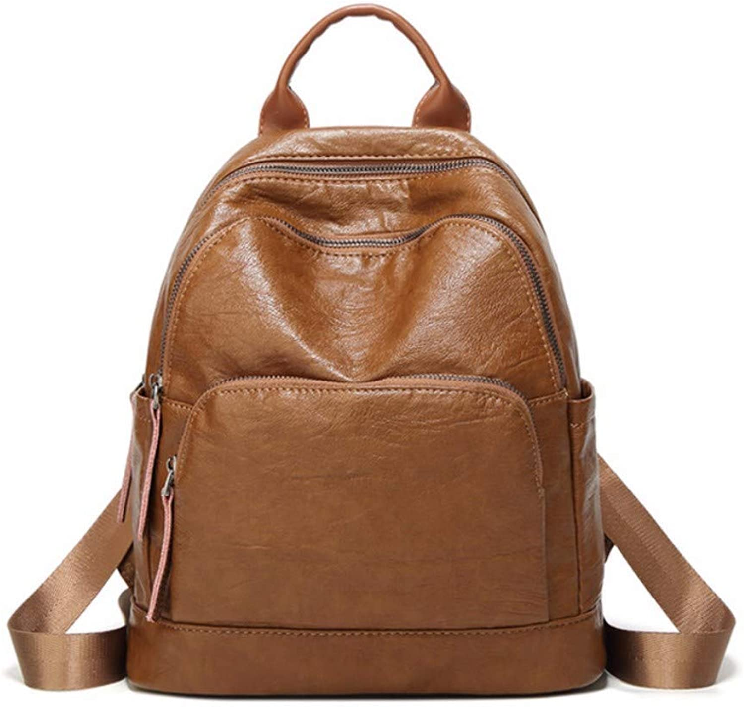 JQSM Simple Preppy Style Women Backpack Classic Waterproof Soft Leather Shoulder Bag All Match School Backpack Durable Travel Bag