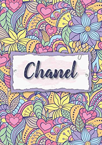 Chanel: Notizbuch A5 | Personalisierter vorname Chanel | Geburtstagsgeschenk für Frau, Mutter, Schwester, Tochter | Design: Blumen | 120 Seiten liniert, Kleinformat A5 (14,8 x 21 cm)