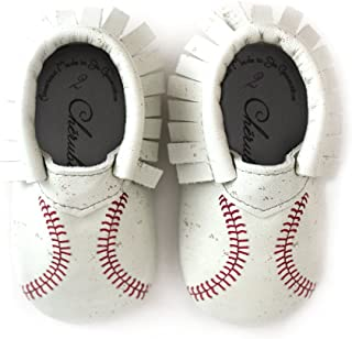 Baseball Moccasin Printed Stitch Design 100% American Leather Moccasins for Babies & Toddlers Made in US