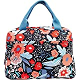 Insulated Lunch Bag for Women Large Capacity, Reusable Cooler Bag Lunch Box, Leakproof Liner Tote with with Zipper Closure/Pockets/Sturdy Handles, Folk Floral by Steel Mill & Co. (Medium)