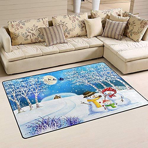 Agnes Carey Navidad Familia Muñeco de Nieve Árbol Reno de Nieve Área de la Luna Alfombras Alfombras Alfombrillas Antideslizantes Alfombras de Piso Sala de Estar Dormitorio 60 x 39 Pulgadas