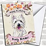 Rustic Gold Dog Westie West Highland Terrier Personalized Birthday Greetings Card