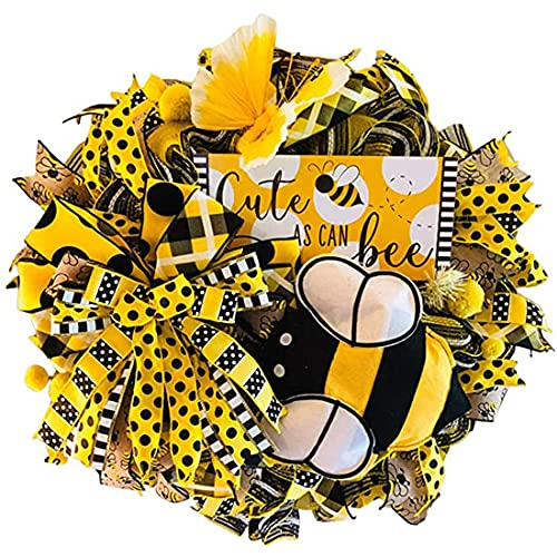 Bee Sunflower Wreath Honey Bee Day Decorations Handmade Artificial Garland Hanging Pendants Ornaments Farmhouse Front Door Easter Spring 20 Inch