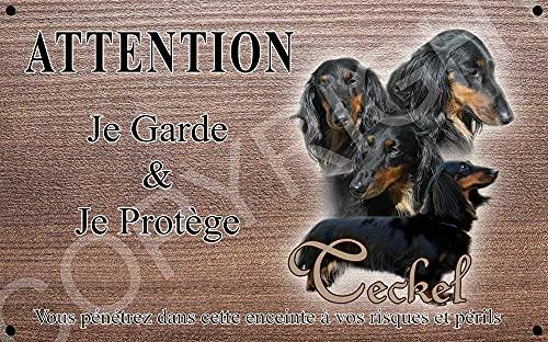 Pets-Easy.com Panneau Attention au Chien personnalisée Teckel Noir et feu - pré percée et vis proposées. De 30 cm à 15 cm…