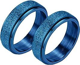 Spinner Ring voor Vrouwen Mannen, Angst Ring voor Vrouwen,Vrouwen Mannen Stress Release Draaibaar Zandstralen Roestvrij St...