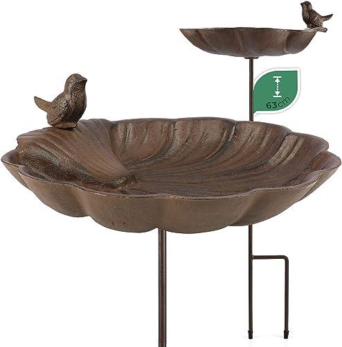 WILDLIFE FRIEND Bain d'Oiseaux sur Pied, Abreuvoir Mangeoire pour Oiseaux - Résistant aux Intempéries - Bain d'Oiseau...
