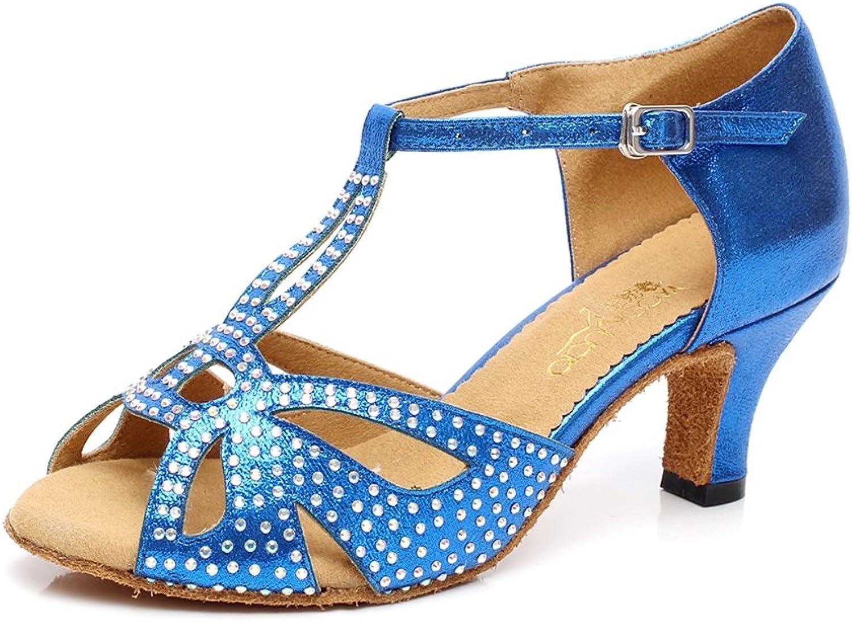 Minitoo QJ6182 Women's Crystals Satin Ballroom Latin Dance shoes