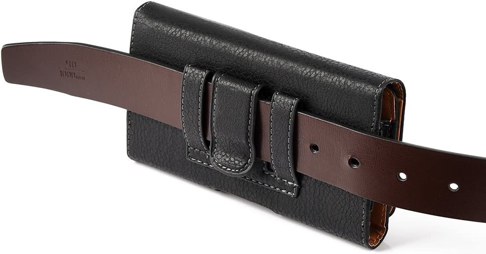 6.5 inch Cell Phone Holster with Belt Clip Loop Compatible with Sony Xperia, ZTE Blade Axon ZMax Series (Textured Black)