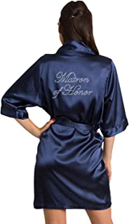 Women's Rhinestone Bride Bridesmaid Maid of Honor Mother of The Bride Mother of The Groom Wedding Satin Robe