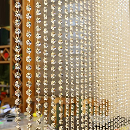 Fabal Crystal Glass Bead Curtain Luxury Living Room Bedroom Window Door Wedding Decor (Clear)