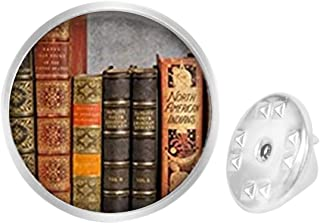 WAZZIT Round Metal Tie Tack Hat Lapel Pin Brooches So Many Books,So Little Time Quote Banquet Badge Enamel Pins Trendy Accessory Jacket T-Shirt