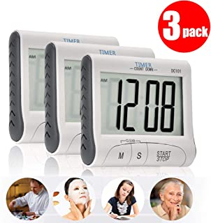 3 Pack Senbowe Digital Kitchen Timer/Cooking Timer with Large Display Screen, Loud Sounding Alarm, Strong Magnetic Backing, Retractable Stand
