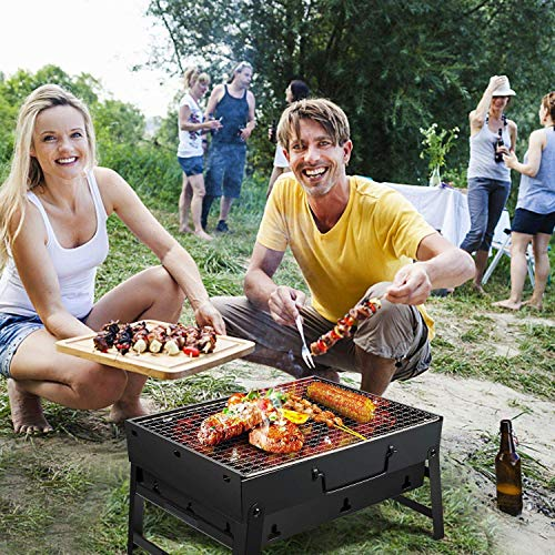 K.W Barbacoa portatil, Mesa de Parrilla de la Barbacoa del carbon de lena Plegable Desmontable cocinar en el Horno Rejilla jardin Exterior Barbacoa for 3-5 Personas acampando Lili