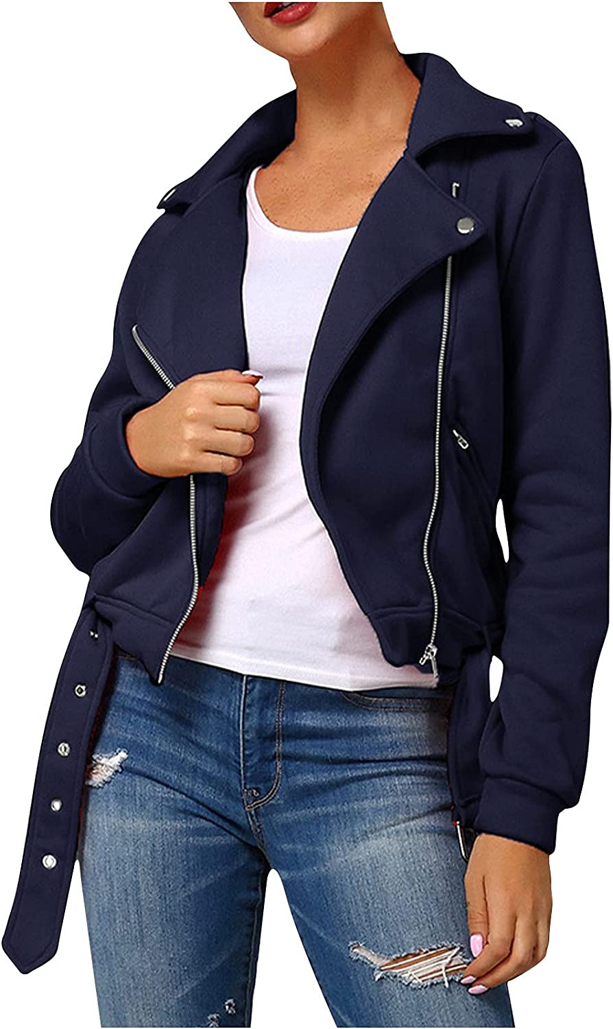 RFNIU Black Jacket Women Fall Fashion V-Neck Zip Up Solid Color Cardigan Coat With Pocket Casual Long Sleeve Tops