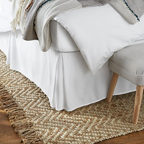 Amazon Basics Pleated Bed Skirt - Queen, Bright White