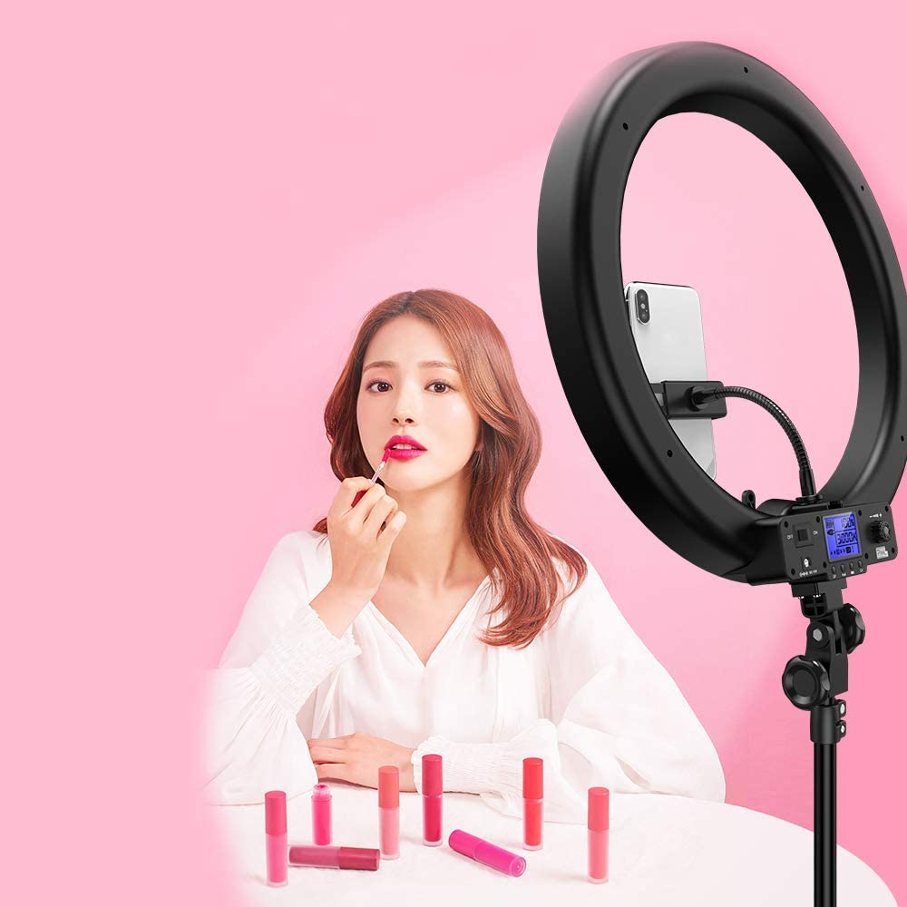 Mobile Phone Holder JION Doost 19-Inch External Dimmable SMD Led Ring Light Lighting Kit with Light Stand Hot Shoe Adapter for Portrait YouTube Video Capture