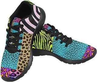 InterestPrint Women's Casual Flats Soft Running Walking Shoes-Animal Leopard Zebra Print
