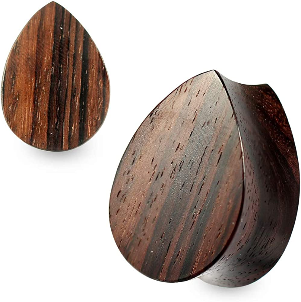11/16 Inch (18MM) Double Flared Sono Natural Wood Flat Teardrop Saddle Gauges Ear Plug Piercing Jewelry - Sold by Piece