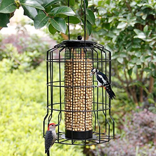 SAND MINE Squirrel Proof Wild Bird Feeder, Caged Tube Feeder, Outdoor Birdfeeder with Large Mesh Metal Seed Guard Deterrent for Large Birds, Black