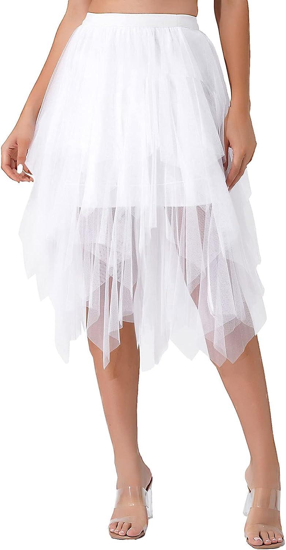 Sholeno Women's Tulle Skirt Formal Prom Party High Low Irregular Midi Elastic Waistband Tutu Skirts