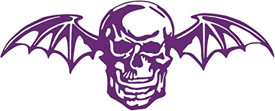 Avenged Sevenfold Deathbat [Pick Any Color] Vinyl Transfer Sticker Decal for Laptop/Car/Truck/Window/Bumper (Small (6in x 2.4in), Purple)