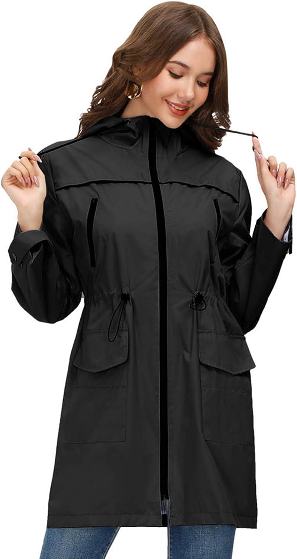 JASAMBAC Womens Rain Jacket Hooded Waterproof Long Raincoat Trench Coats Windbreaker