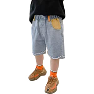 [ンーセンー] 子供服 デニムパンツ ボーイズ 短パン 夏装 薄手 デニムパンツ キッズ 無地 シンプル ウェストゴム 切りっぱなし 通園 通学 かっこいい (ブルー,120cm)