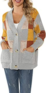 Opinionated Womens Color Block Striped Draped Kimono Cardigan with Pockets Long Sleeve Open Front Casual Knit Sweaters Coat