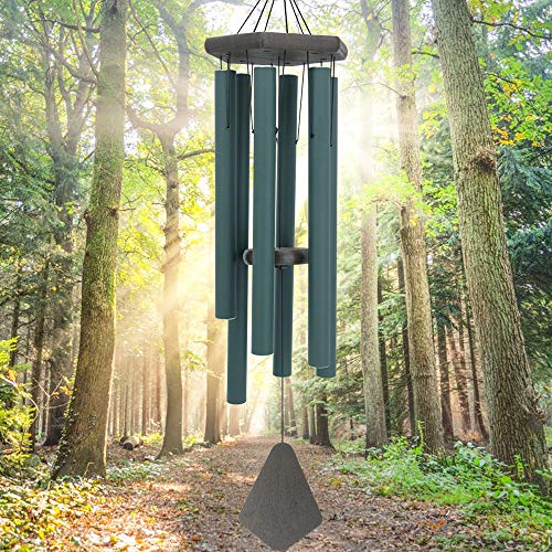 ASTARIN Sympathy Wind Chimes Outdoor Deep Tone,36Inch Melody Wind Chimes Large with 6 Heavy Tubes Tuned Bass Tone,Memorial Windchimes Personalized for Mother Father,Garden Decor Chime,Forest Green