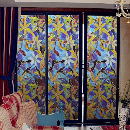 Nvfshreu Statische raamfolie 3 meter Orchid PVC film raamsticker niet plakken eenvoudige stijl vork kunst glas badkamer raamfolie landhuis vintage stijl ornament