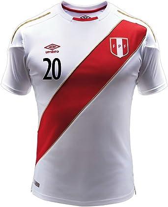 Amazon.com : Umbro Flores #20 Peru Home Men's Soccer Jersey World ...