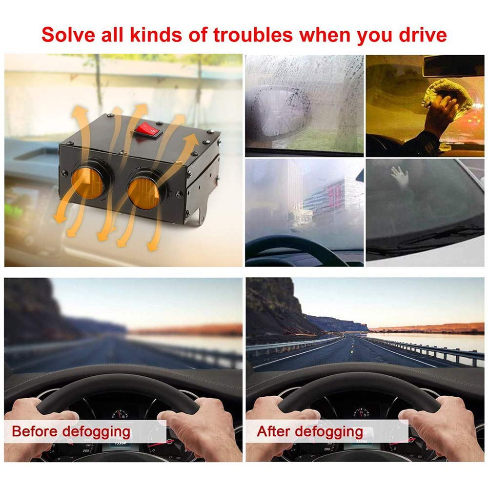 Car Heater 24V 500W Portable Fan Heaters 2 Outlets Winter Space Heater Defroster Demister for Windshield Glass