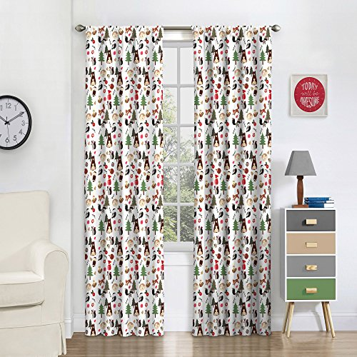 "Eclipse Forest Friends Thermal Insulated Single Panel Rod Pocket Room Darkening Privacy Curtains for Nursery, 42"" x 84"", Multicolor"