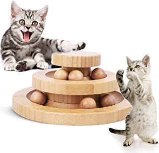 AriTan Interactive Wooden Cat Toy Double Layer Rotating Smart Track Ball Turntable Swing Roller Gifts Turntable for Cats K...